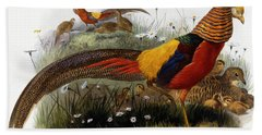 Golden Pheasants Beach Towel by Joseph Wolf