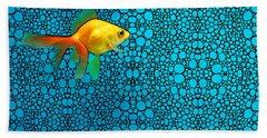 Goldfish Study 3 - Stone Rock'd Art By Sharon Cummings Beach Sheet by Sharon Cummings