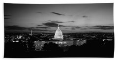 Government Building Lit Up At Night, Us Beach Towel by Panoramic Images