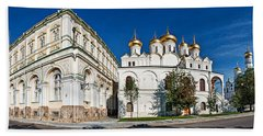 Grand Kremlin Palace With Cathedrals Beach Sheet by Panoramic Images