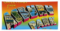 Greetings From Asbury Park Nj Beach Sheet by Digital Reproductions
