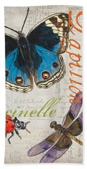 Grey Postcard Butterflies 4 Beach Towel by Debbie DeWitt