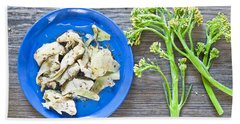 Grilled Artichoke And Brocolli Beach Towel by Tom Gowanlock