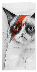Grumpy Cat As David Bowie Beach Sheet by Olga Shvartsur