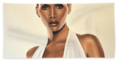 Halle Berry Painting Beach Sheet by Paul Meijering