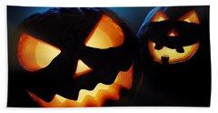 Halloween Pumpkins Closeup -  Jack O'lantern Beach Towel by Johan Swanepoel
