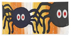 Halloween Spiders Sign Beach Sheet by Linda Woods