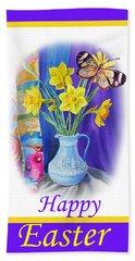 Happy Easter Daffodils Beach Sheet by Irina Sztukowski