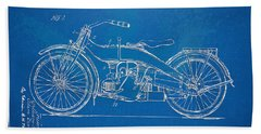 Harley-davidson Motorcycle 1924 Patent Artwork Beach Towel by Nikki Marie Smith