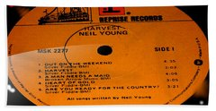 Harvest - Neil Young Side 1 Beach Towel by Marcello Cicchini