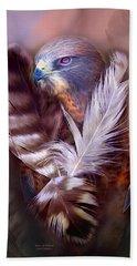 Heart Of A Hawk Beach Towel by Carol Cavalaris
