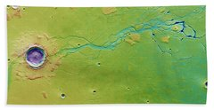 Beach Towel featuring the photograph Hephaestus Fossae, Mars by Science Source