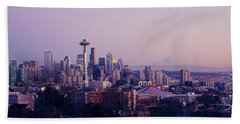 High Angle View Of A City At Sunrise Beach Towel by Panoramic Images