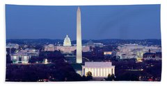 High Angle View Of A City, Washington Beach Towel by Panoramic Images