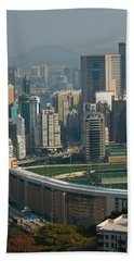 High Angle View Of A Horseracing Track Beach Towel by Panoramic Images