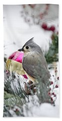 Holiday Cheer With A Titmouse Beach Towel by Christina Rollo