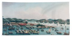 Hong Kong Harbor Beach Towel by Cantonese School