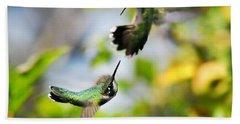 Hummingbirds Ensuing Battle Beach Towel by Christina Rollo