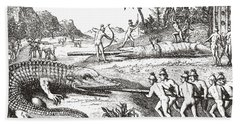 Hunting Alligators In The Southern States Of America Beach Sheet by Theodor de Bry