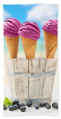 Icecreams With Blueberries Beach Towel by Amanda Elwell