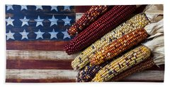 Indian Corn On American Flag Beach Towel by Garry Gay