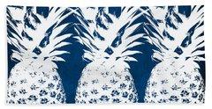 Indigo And White Pineapples Beach Towel by Linda Woods