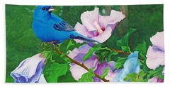 Indigo Bunting  Beach Sheet by Ken Everett