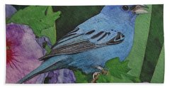Indigo Bunting No 2 Beach Sheet by Ken Everett
