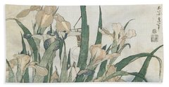 Iris Flowers And Grasshopper Beach Sheet by Hokusai