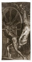 Ixion In Tartarus On The Wheel, 1731 Beach Towel by Bernard Picart