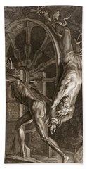 Ixion In Tartarus On The Wheel, 1731 Beach Sheet by Bernard Picart