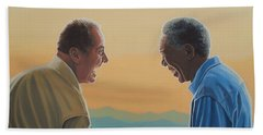 Jack Nicholson And Morgan Freeman Beach Towel by Paul Meijering