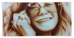 Janis Joplin - ' Janis ' Beach Sheet by Christian Chapman Art
