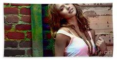 Jessica Alba Beach Towel by Marvin Blaine