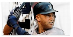 Jeter II  Derek Jeter Beach Sheet by Iconic Images Art Gallery David Pucciarelli