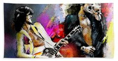 Jimmy Page And Robert Plant Led Zeppelin Beach Towel by Miki De Goodaboom