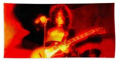 Jimmy Page On Fire Beach Towel by Dan Sproul