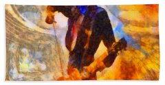 Jimmy Page Playing Guitar With Bow Beach Towel by Dan Sproul