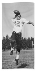 Joe Francis Throwing Football Beach Sheet by Underwood Archives