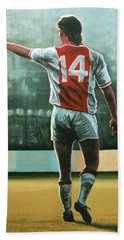 Johan Cruijff Nr 14 Painting Beach Sheet by Paul Meijering