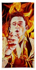 Johnny Cash And It Burns Beach Towel by Joshua Morton