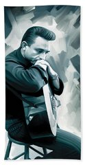 Johnny Cash Artwork 3 Beach Towel by Sheraz A