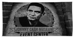 Johnny Cash Black And White Beach Sheet by Dan Sproul
