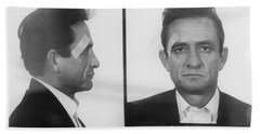 Johnny Cash Folsom Prison Beach Towel by David Millenheft