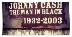 Johnny Cash Memorial Beach Towel by Dan Sproul