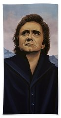 Johnny Cash Painting Beach Sheet by Paul Meijering