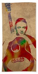 Johnny Cash Watercolor Portrait On Worn Distressed Canvas Beach Towel by Design Turnpike
