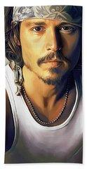 Johnny Depp Artwork Beach Towel by Sheraz A