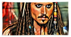 Johnny Depp As Jack Sparrow Beach Sheet by Florian Rodarte