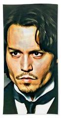 Johnny Depp Portrait Beach Sheet by Florian Rodarte
